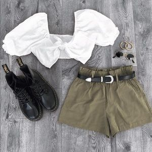 Olive High Waisted Shorts